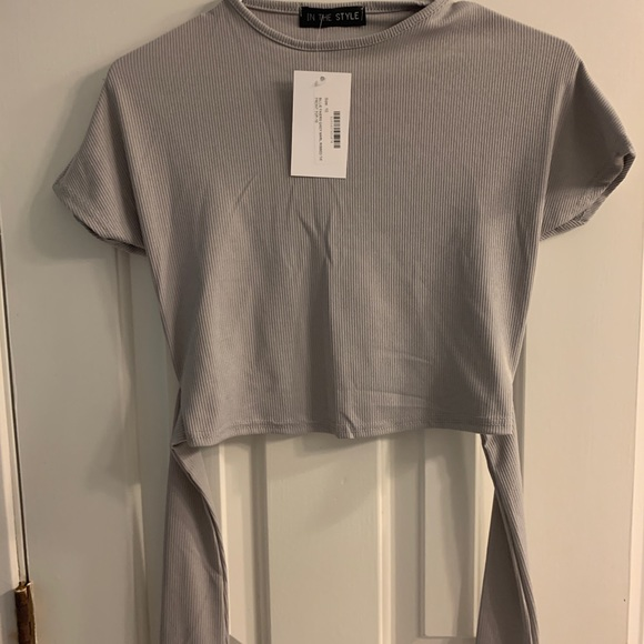 ASOS Grey Tie Crop Top